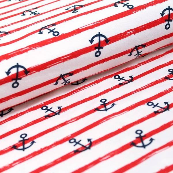 Bilde av Økologisk jersey, anker med røde striper