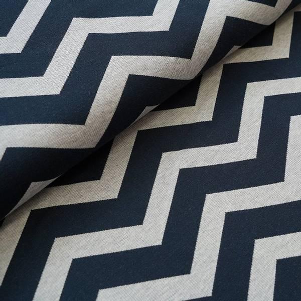 Bilde av Økologisk bomullsjacquard, chevron dark blue/grå