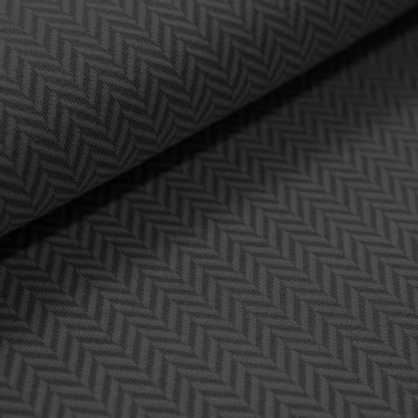 Bilde av Økologisk bomullsjacquard, herringbone svart/grå