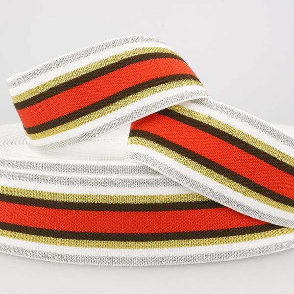 Bilde av 4cm stripet glitterstrikk, rød/gull