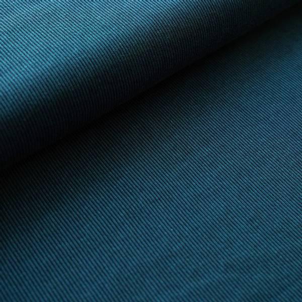 Bilde av Økologisk bomullsjacquard, striper petrol