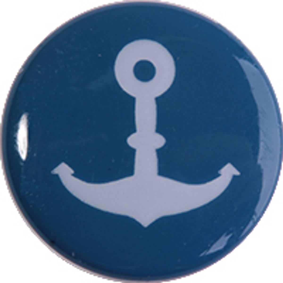 Motivknapp blå med anker